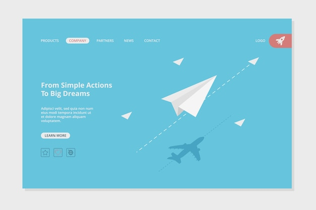 Modello di pagina web di atterraggio dell'aeroplano. immagine di concetto della pagina web di affari di successo con il modello di destinazione degli obiettivi degli aerei di carta. sviluppo dell'aeroplano di affari dell'illustrazione