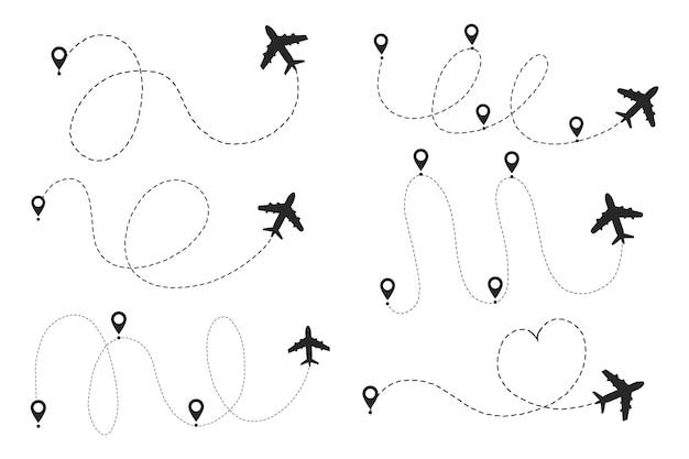 Rotta del percorso della linea dell'aeroplano con punto iniziale e traccia della linea tratteggiata.