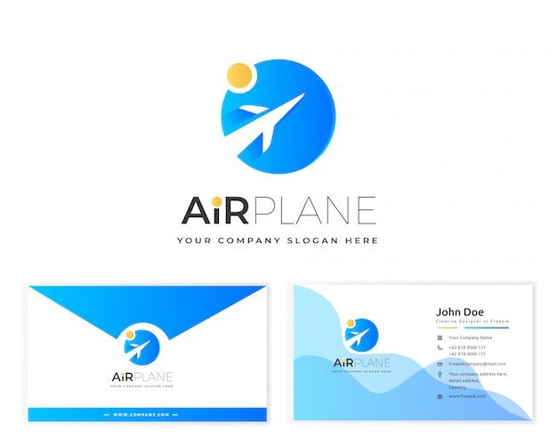 Logo dell'aeroplano con biglietto da visita di cancelleria