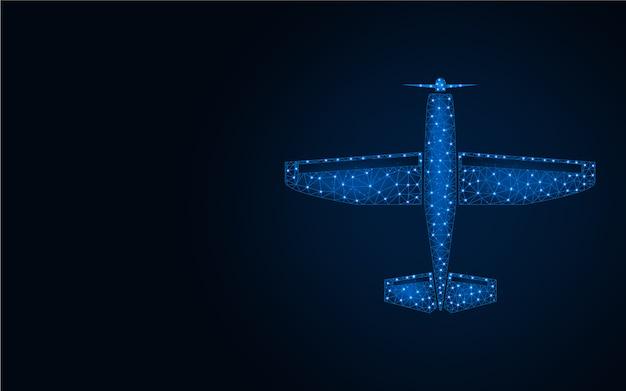 Aeroplano low poly sfondo blu