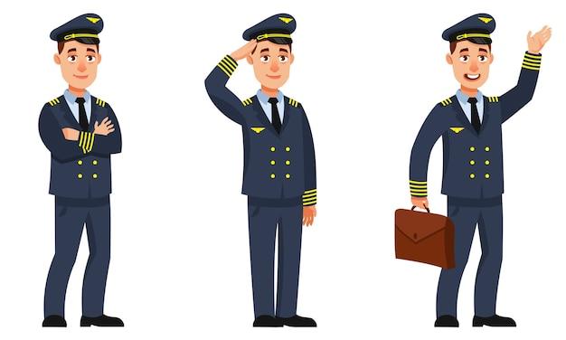 Pilota di aeroplano in diverse pose. personaggio maschile in stile cartone animato.