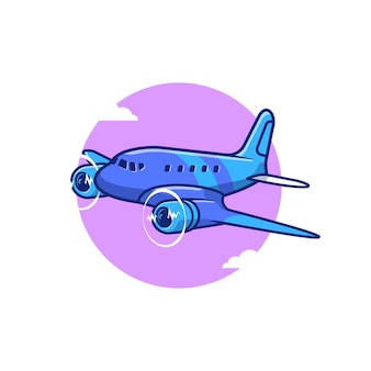 Illustrazione dell'icona del fumetto dell'elica dell'aeroplano. concetto di icona del trasporto aereo isolato premium. stile cartone animato piatto