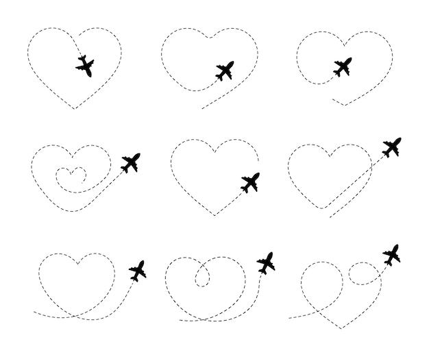 Percorsi aerei. icona di vettore di viaggio. viaggio dal punto di partenza e tracciamento della linea tratteggiata.