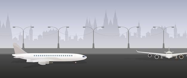 Aeroplano sulla pista. pista d'atterraggio. vettore