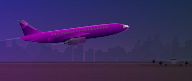Aeroplano sulla pista Vettore Premium