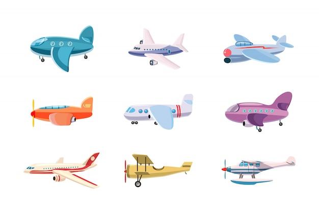 Set di aeroplani. insieme del fumetto dell'aeroplano