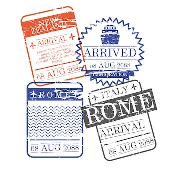 Francobolli quadrati di arrivo aeroplano e nave