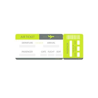 Illustrazione del coupon di imbarco dell'icona del biglietto dell'aeroplano