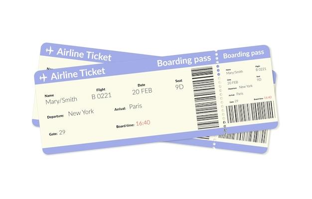 Biglietti aerei carta d'imbarco di volo aereo aereo