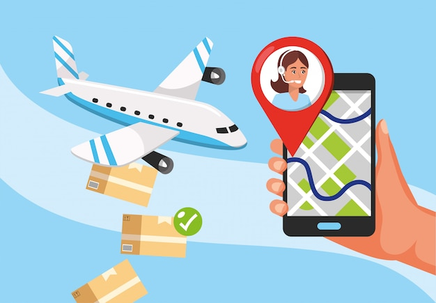 Trasporto aereo e mano con localizzazione gps e servizio di call center