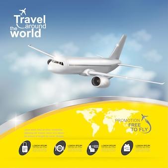 Viaggio di concetto di vettore dell'aeroplano intorno al mondo