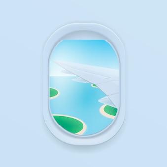 Finestra dell'aeroplano. fumetto illustrazione piatta