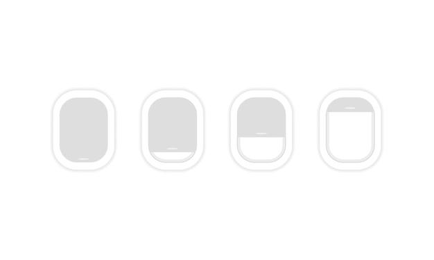 Insieme dell'icona della finestra dell'aeroplano. viaggio, turismo, viaggio. aereo. vettore su sfondo bianco isolato. env 10.