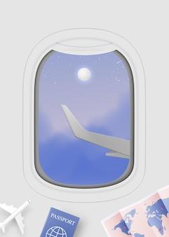 Vista della finestra dell'aeroplano con bel cielo notturno