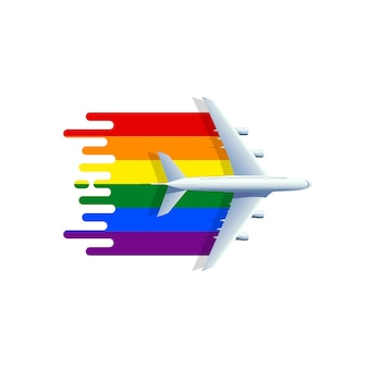 Aeroplano con bandiera di colore lgbt.