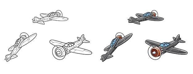 Pagina da colorare del fumetto di aeroplani per bambini