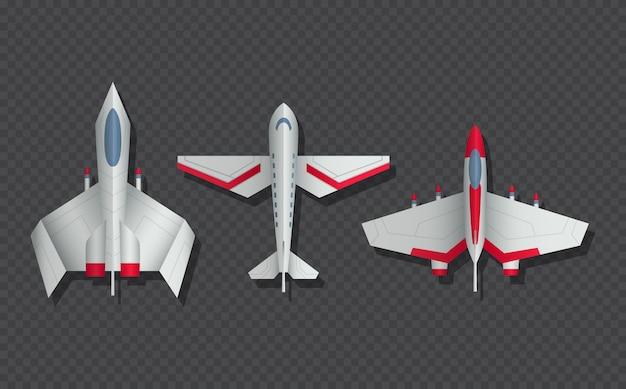 Vista dall'alto di aerei e aerei militari. icone dell'aereo di linea e del combattente 3d. vista dall'alto dell'aeroplano, modello di trasporto aereo