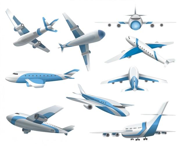 Aeroplani su sfondo bianco. aereo di linea nella parte superiore, laterale, frontale e isometrica. aereo realistico. aereo passeggeri, aeroplano volante in cielo e aereo in diverse viste