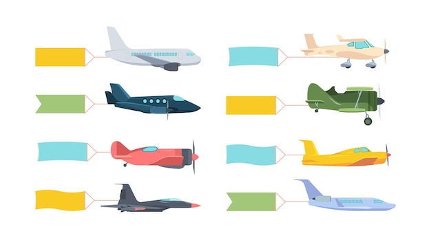Aeroplani con set di banner. aereo retrò moderno con poster a colori svolazzanti sulla coda potente motore da combattimento aereo di linea giallo privato ad alta velocità verde allenamento blu.