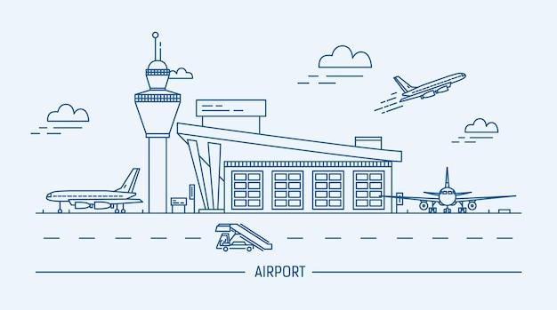 Aeroporto, aereo. illustrazione di vettore di lineart bianco e nero con aerostazione e aeroplani.