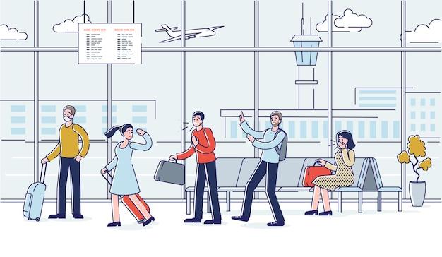 Aeroporto durante l'epidemia di covid-19 con persone che tossiscono e indossano maschere