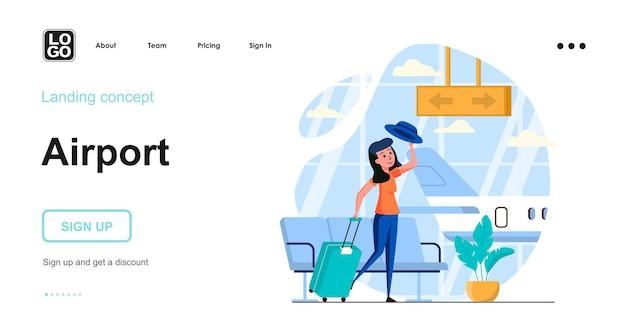 Concetto di design piatto dell'aeroporto