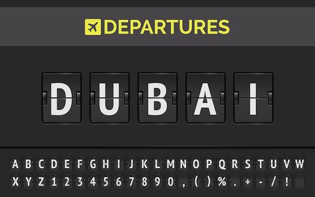Lavagna a fogli mobili dell'aeroporto per presentare il volo per dubai negli emirati arabi