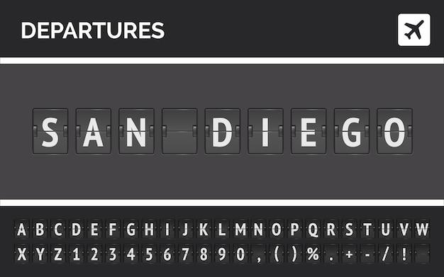 Carattere di capovolgimento dell'aeroporto e icona dell'aereo che mostra la partenza per san diego negli stati uniti