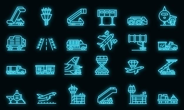 Set di icone di servizio di supporto a terra dell'aeroporto. delineare l'insieme delle icone vettoriali del servizio di assistenza a terra dell'aeroporto colore neon su nero