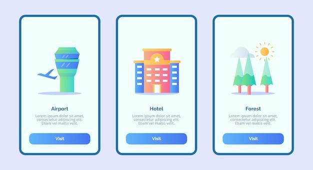 Interfaccia utente della pagina banner del modello di app mobili o foresta dell'hotel dell'aeroporto