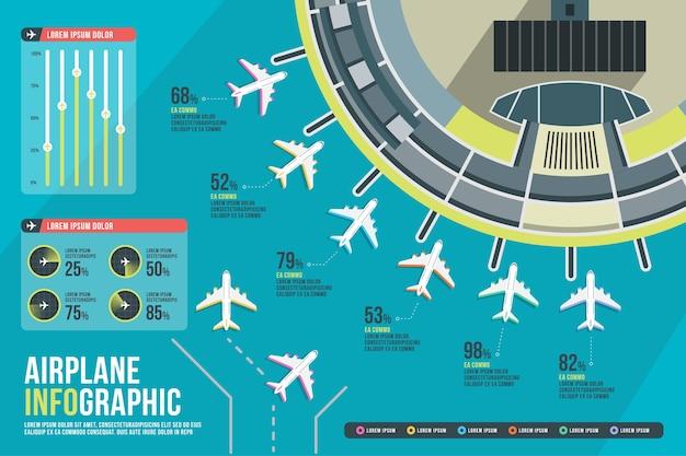 Set di infografica aeroporto. presentazione del grafico della compagnia aerea.