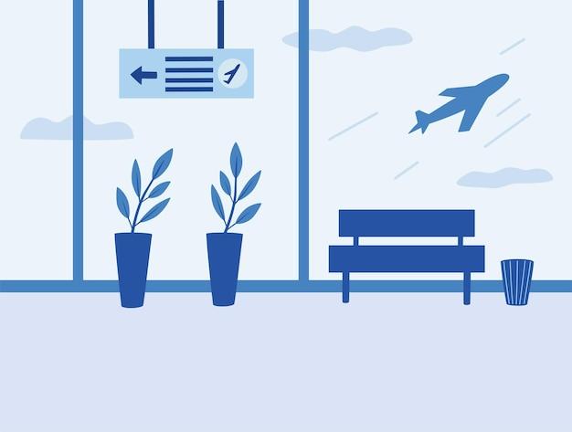 Interno dell'aeroporto. sala d'attesa, sala partenze, terminal dell'aeroporto. vista della sala del terminal dell'aerodromo sugli aeroplani. illustrazione vettoriale di stile piano.