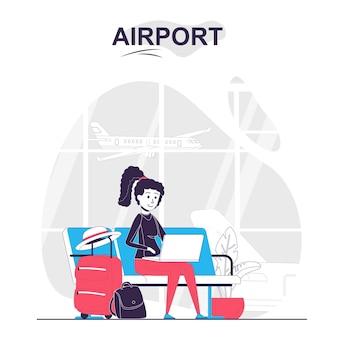 Concetto di fumetto isolato aeroporto la donna con i bagagli lavora al computer portatile nella sala d'attesa
