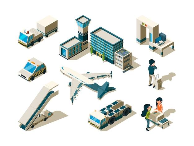 Aeroporto isometrico. controllare i viaggiatori che controllano il terminal dei servizi di arrivo dei passeggeri del convogliatore di bagagli all'ingresso 3d low poly s