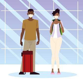 Aeroporto nuovo normale, coppia afro americana con valigia e zaino