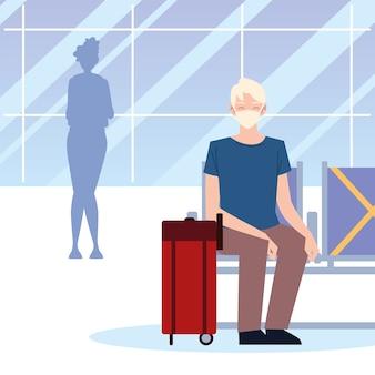 Aeroporto nuovo normale, uomo con maschera e valigia seduta in attesa