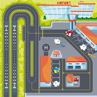 Illustrazione delle mappe della pista dell'aereo dell'aeroporto con la sfida del labirinto stradale per i bambini giocano a mat e roll mat
