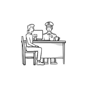Icona di doodle di contorni disegnati a mano di polizia aeroportuale
