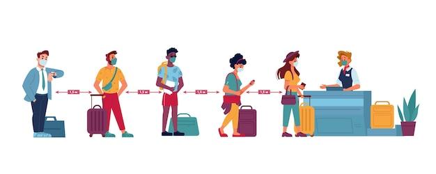 L'aeroporto mette in coda le persone a distanza sociale con le maschere in fila al vettore di controllo passaporti piatto