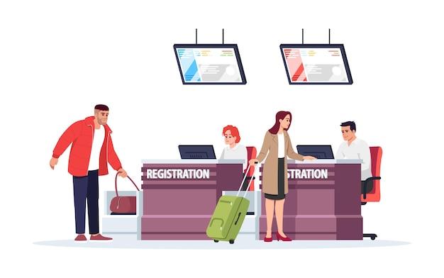 Illustrazione di vettore di colore rgb semi piatto del banco di registrazione dell'aeroporto. i turisti che effettuano il check-in prima del volo. controllo di sicurezza per i bagagli. personaggio dei cartoni animati isolato viaggiatori su sfondo bianco