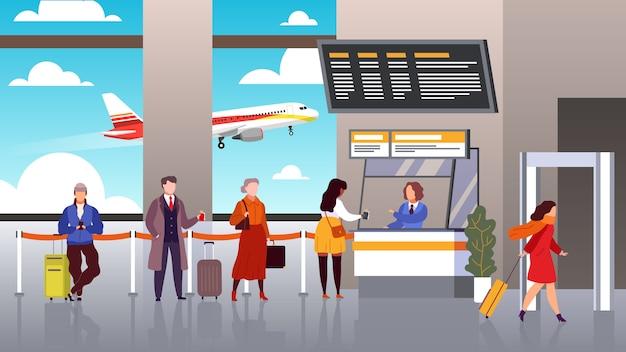 Registrazione dell'aeroporto la gente fa la coda ai passeggeri di partenza nella linea concetto terminale di viaggio di turismo del controllo di volo del registro bagagli