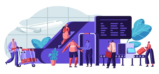 Illustrazione di concetto di sicurezza aeroportuale. viaggiatore di screening del dipartimento di polizia mediante metal detector o scanner a onde millimetriche per la protezione dei passeggeri.