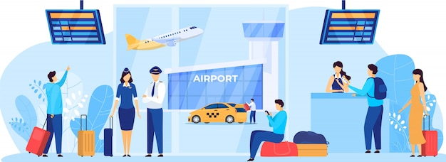Servizi aeroportuali, personale di bordo e passeggeri, illustrazione di persone