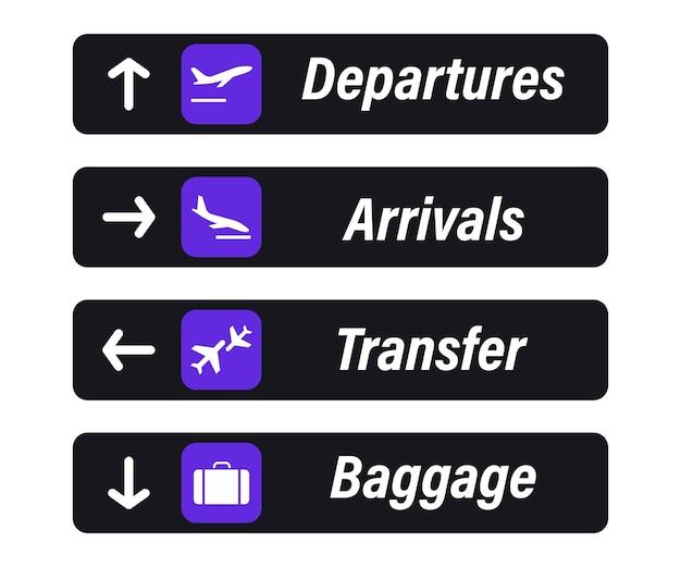 Segno dell'aeroporto. arrivi, partenze, bagagli e trasferimenti - cartelli informativi. check in, pannello informativo sulla direzione degli arrivi e delle partenze negli aeroporti. decollo e atterraggio aereo