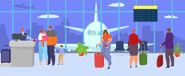 Terminal dell'aeroporto per viaggi, illustrazione. personaggio familiare con bagagli attendere il volo aereo nella hall, partenza del viaggio per il viaggio di persone. bagaglio turistico dell'aeroplano in vacanza.