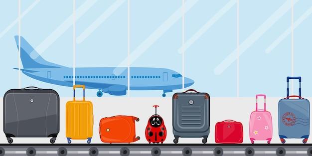 Terminal dell'aeroporto con nastro per bagagli e aereo