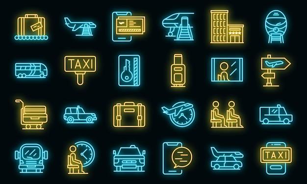 Set di icone di trasferimento aeroportuale neon