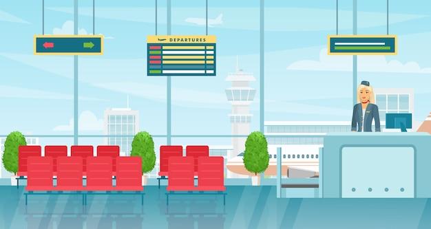 Interiore della sala d'attesa dell'aeroporto. sala partenze con sedie e tabellone delle partenze dei voli