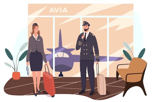 Concetto di web dell'aeroporto. l'equipaggio dell'aereo si sta preparando per il volo. hostess e pilota in piedi con le valigie in sala d'attesa
