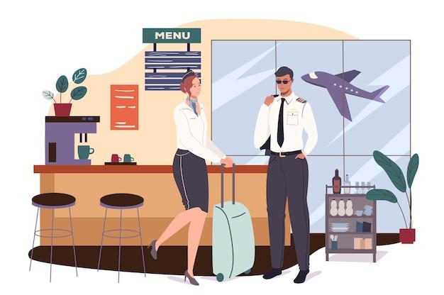 Concetto di web dell'aeroporto. l'equipaggio dell'aereo si sta preparando per il volo. hostess con valigia e pilota in attesa di salire a bordo dell'aereo al bar